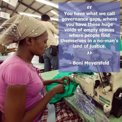 Image of woman sewing with text saying You have what we call governance gaps