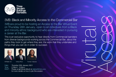 3VB Black and Minority Access to the Bar event poster