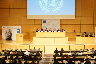 An image showing judges and participants of the Nelson Mandela Moot seated in a hall at the United Nations Office in Geneva.