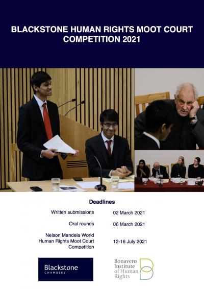 A poster with the photos of the winners and judges of the Blackstone Moot 2020. Below this is the schedule for the 2021 edition of the moot: written memorials are due on 2 March and oral rounds will take place on 6 March.