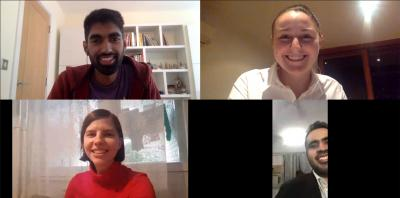 A screenshot of a Teams call with Ameer Ismail at the top left corner, Claire Gerrand at the top right corner, Petra Stojnic at the bottom left corner and Rahul Bajaj at the bottom right corner of the screen. They are all smiling.