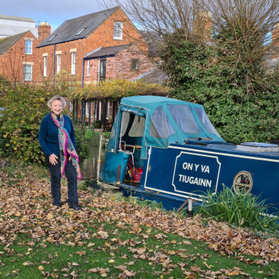 Laura Hoyano beside her canal boat