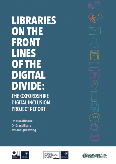 Cover of the Oxfordshire Digital Inclusion Project Report (2021), dark aquamarine color with hand drawn icons depicting different digital tasks like email, and the title: Libraries on the Front Lines of the Digital Divide