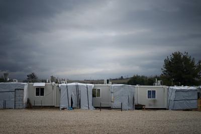 'Refugee camp in the outskirts of Athens'