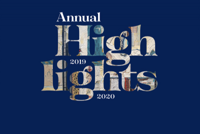 Image with the text 'Annual Highlights 2019-2020' set against an Oxford Blue background.