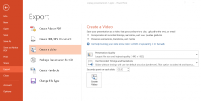 Powerpoint - save as video