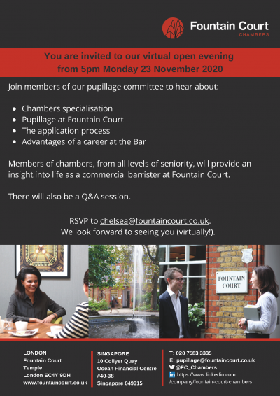 Poster for Pupillage Open Evening 2020 hosted by Fountain Court Chambers
