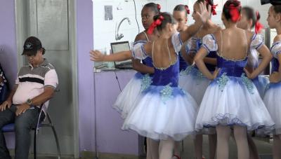 A shot from the film, showing ballerinas.