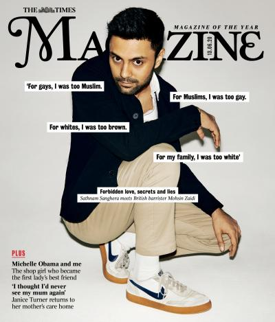 Mohsin Zaidi on the front cover of The Times Magazine