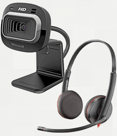 webcam and headset