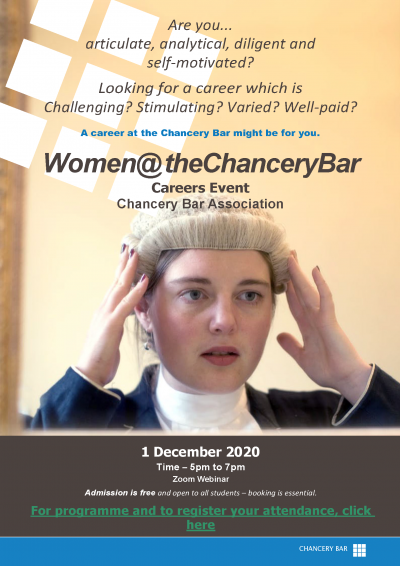 Women at the Chancery Bar 2020 Careers Event poster