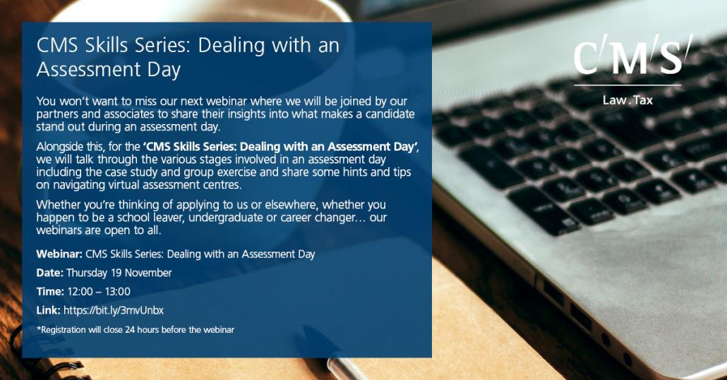 White Text over image of a desk with a laptop, reading: 'CMS Skills Series: Dealing with an Assessment Day