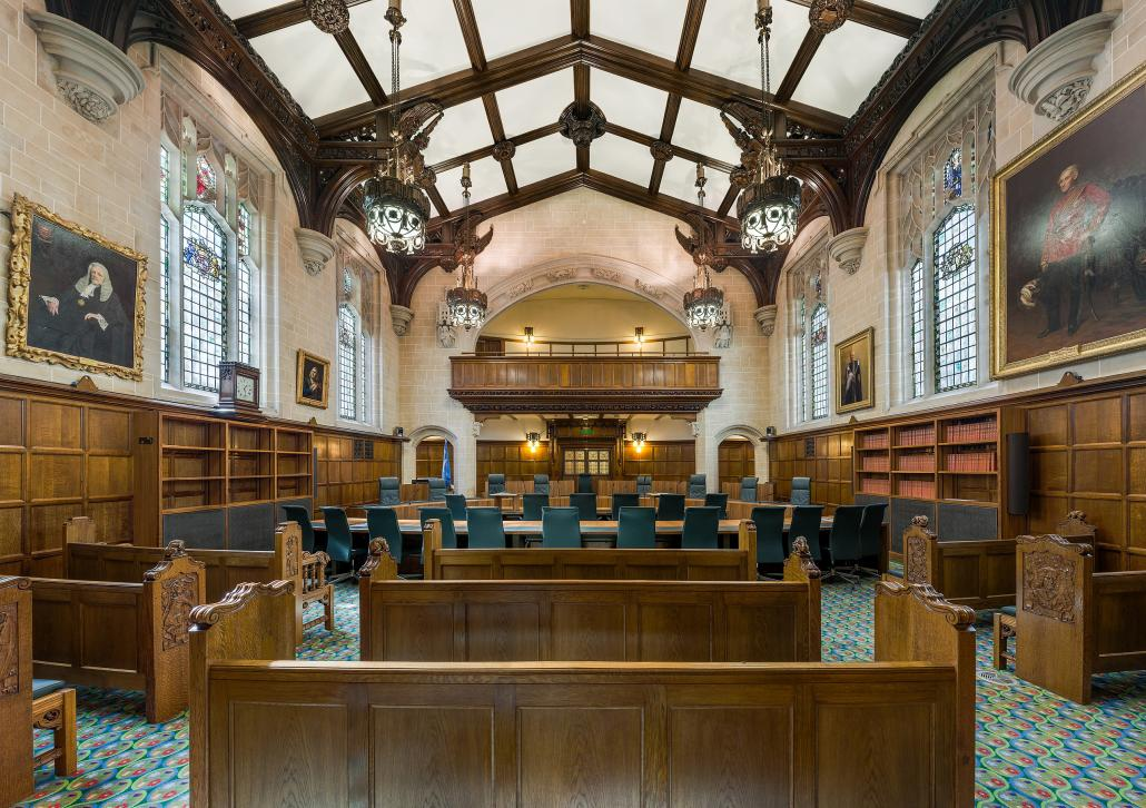 Supreme Court of the United Kingdom, Court 1 Interior, the largest of the three courtrooms of the Supreme Court of the United Kingdom in Middlesex Guildhall, London, England
