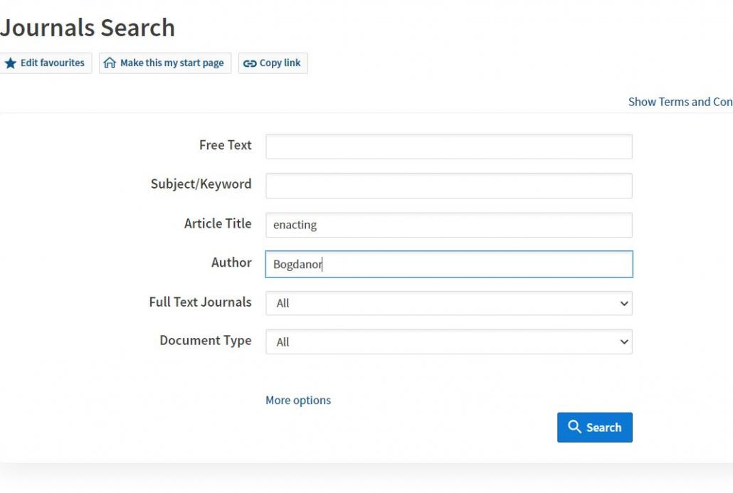 A picture showing the journal search screen using the authors surname and one word from the title