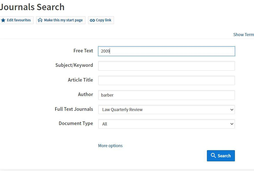 Picture of the journal search on Westlaw using the authors surname and journal