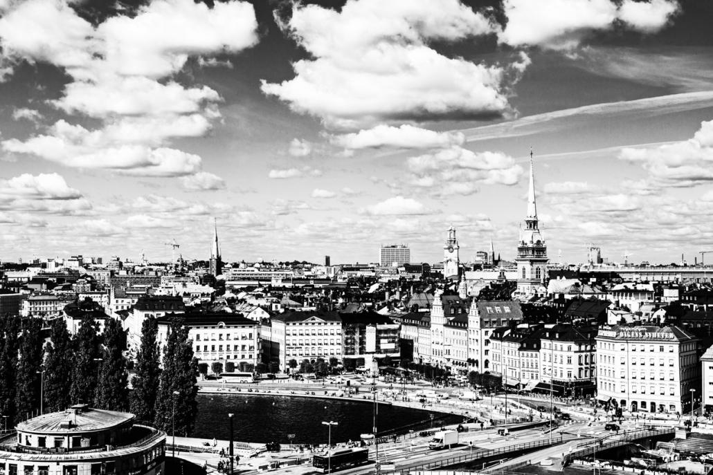 black and white photograph of Stockholm