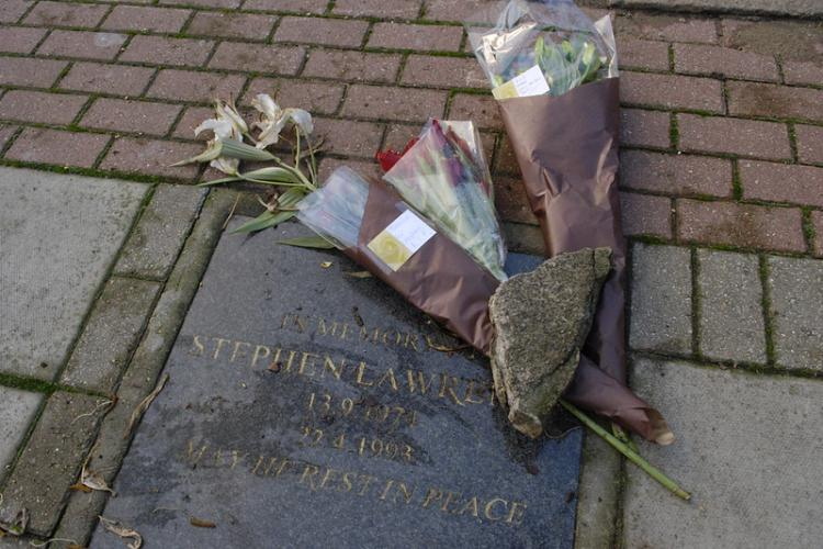 """Stephen Lawrence memorial, 3 January 2012"" by Darryl_SE7 is licensed under CC BY-NC 2.0"