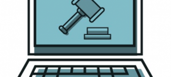 A cartoon laptop with a gavel and block displayed on the screen