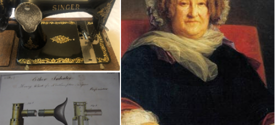 Images of a Singer sewing machine, an illustration of an ether bottle and a painting of a seated woman wearing black