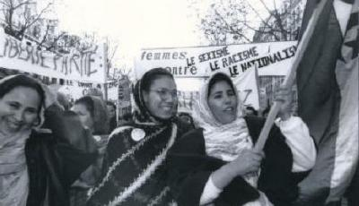 Immigrant women at a feminist protest in France in the 1990s