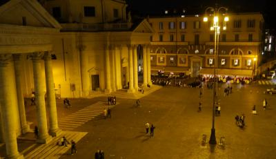View of the Piazza del Popolo in Rome at night