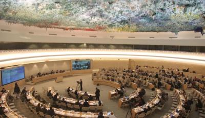 The UN Human Rights Council chamber in Geneva, Switzerland