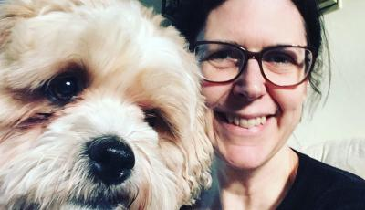 Clare OP and her dog, Woody