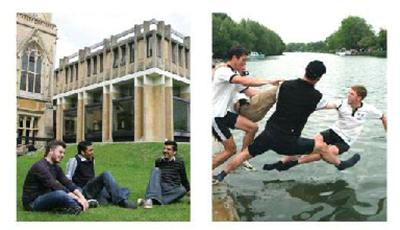 Photos of students relaxing on lawn and jumping into river