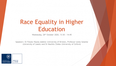 Race Equality in Higher Education