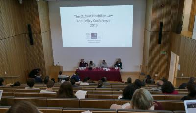 View of the lecture theatre showing the attendees and speakers at the 2018 law faculty disability conference