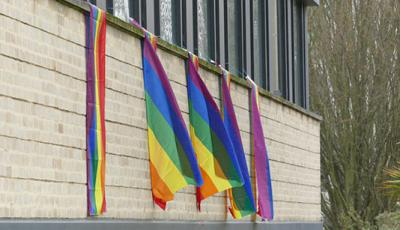 Rainbow flags in the St Cross Building