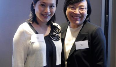 Photo of two female attendees at the launch of Oxford Women in Law in Hong Kong