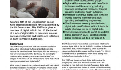 Cover page of the Parliamentary POSTnote on Digital Skills from May 7th, 2021