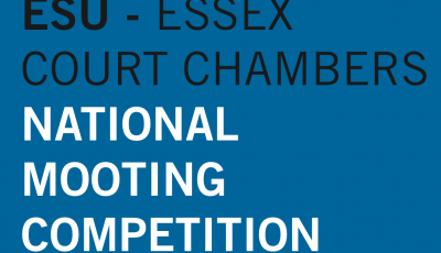 The words 'ESU-Essex Court Chambers National Mooting Championship' appear against a blue background.