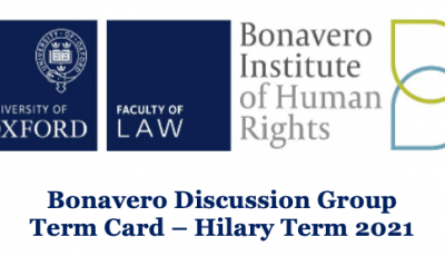 Logos of the Bonavero Institute and the Oxford Law Faculty.