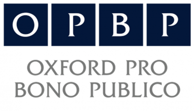 The logo of Oxford Pro Bono Publico. The letter OPBP appear in white against four Oxford blue squares. Below that, the phrase 'Oxford Pro Bono Publico' appears in grey.