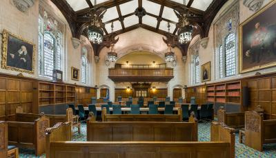 The interior of Court 1, the largest of the three courtrooms of the Supreme Court of the United Kingdom in Middlesex Guildhall, London, England.