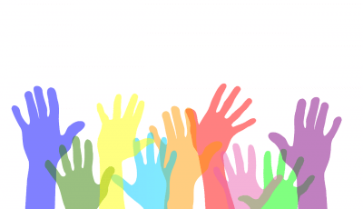 Multicoloured hands in the air logo