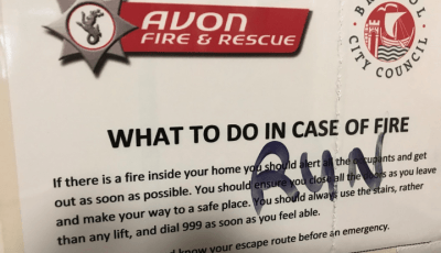 Graffities fire-safety sign